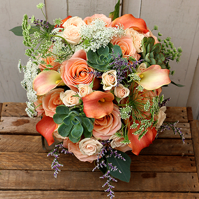 Peach Wedding Flowers, Niagara Florists